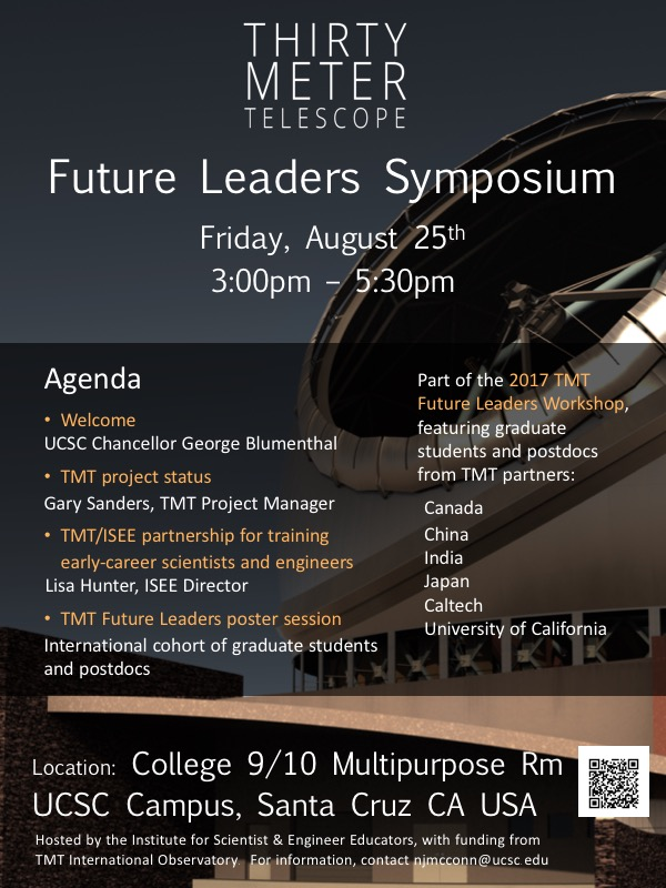 Flyer for TMT Future Leaders Symposium - August 25, 2017